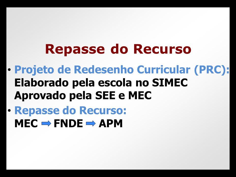 • Projeto de Redesenho Curricular (PRC): Elaborado pela escola no SIMEC Aprovado pela SEE e MEC • Repasse do Recurso: MEC FNDE APM Repasse do Recurso