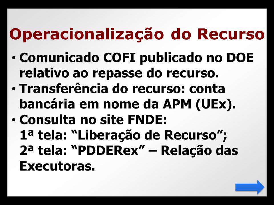 • Comunicado COFI publicado no DOE relativo ao repasse do recurso. • Transferência do recurso: conta bancária em nome da APM (UEx). • Consulta no site