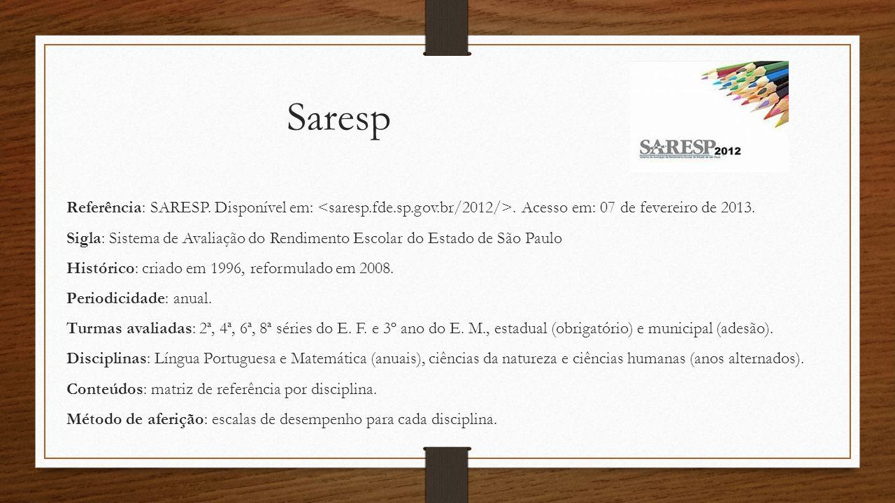 Saresp Referência: SARESP. Disponível em:. Acesso em: 07 de fevereiro de 2013. Sigla: Sistema de Avaliação do Rendimento Escolar do Estado de São Paul
