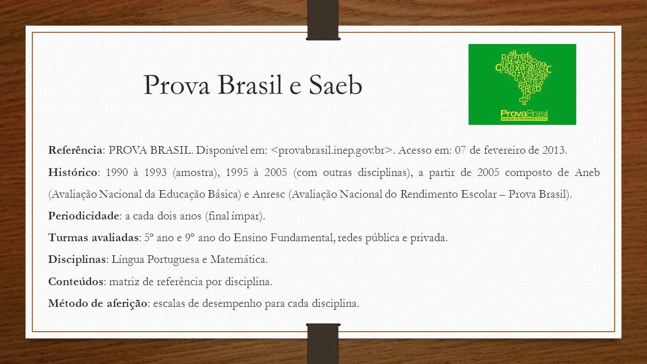 Prova Brasil e Saeb Referência: PROVA BRASIL. Disponível em:. Acesso em: 07 de fevereiro de 2013. Histórico: 1990 à 1993 (amostra), 1995 à 2005 (com o