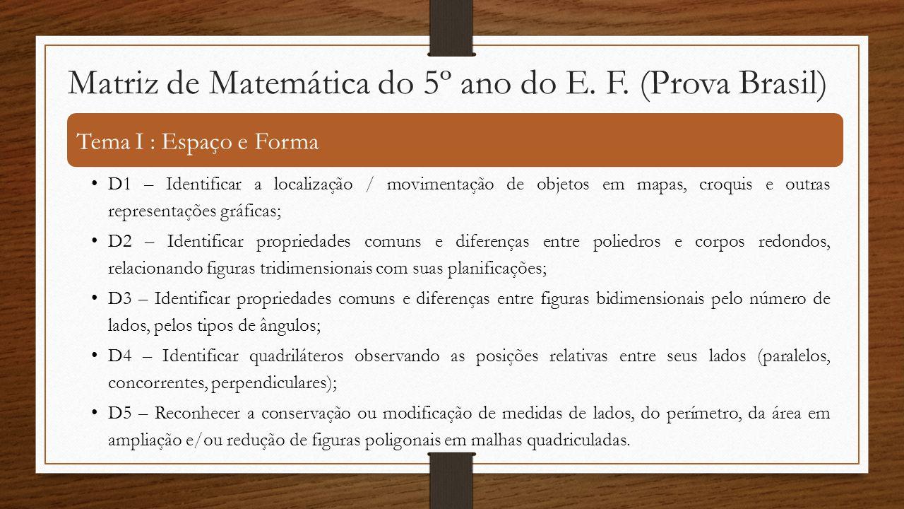 Matriz de Matemática do 5º ano do E. F. (Prova Brasil) Tema I : Espaço e Forma •D1 – Identificar a localização / movimentação de objetos em mapas, cro