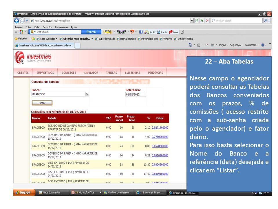 22 – Aba Tabelas Nesse campo o agenciador poderá consultar as Tabelas dos Bancos conveniados com os prazos, % de comissões ( acesso restrito com a sub