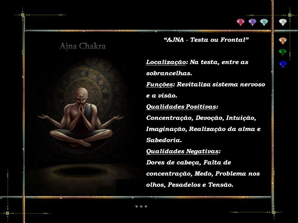 O chakra Vishudda fica na frente da garganta e está ligado à tireóide. Relaciona-se com a percepção mais sutil, com o entendimento e com a voz. Quando