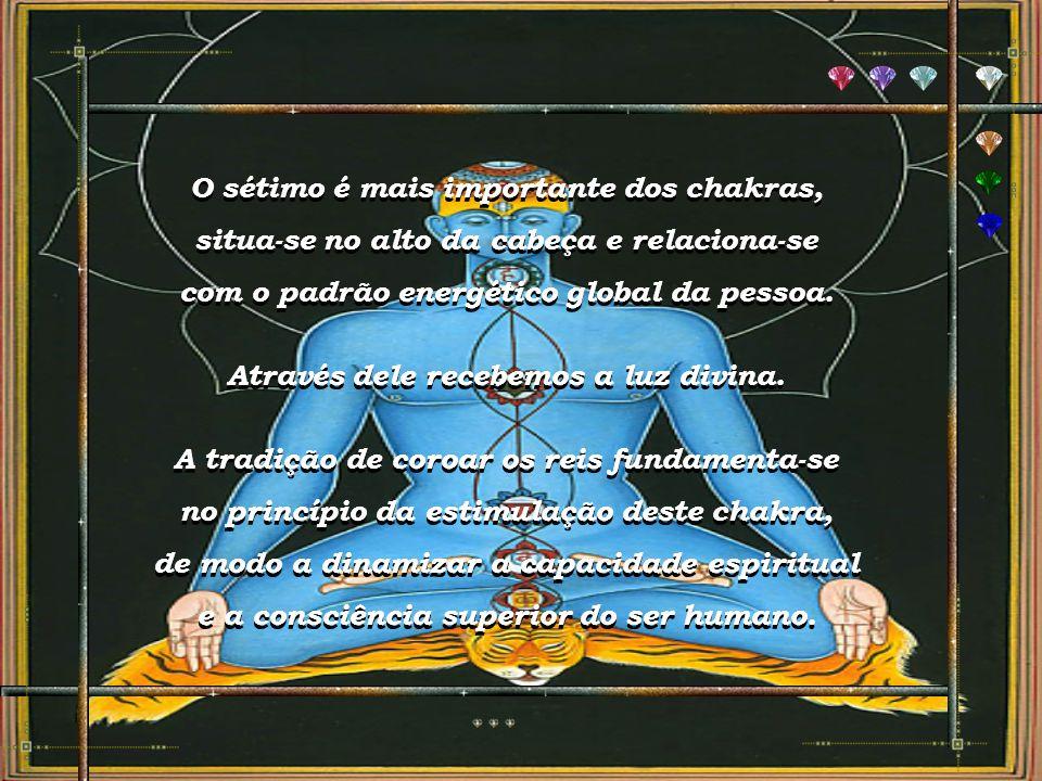 """""""SAHASHARA - Cabeça ou Coroa"""" Localização: No topo da cabeça, bem no centro. Funções: Revitaliza o cérebro. Qualidades Positivas: Percepção além do te"""