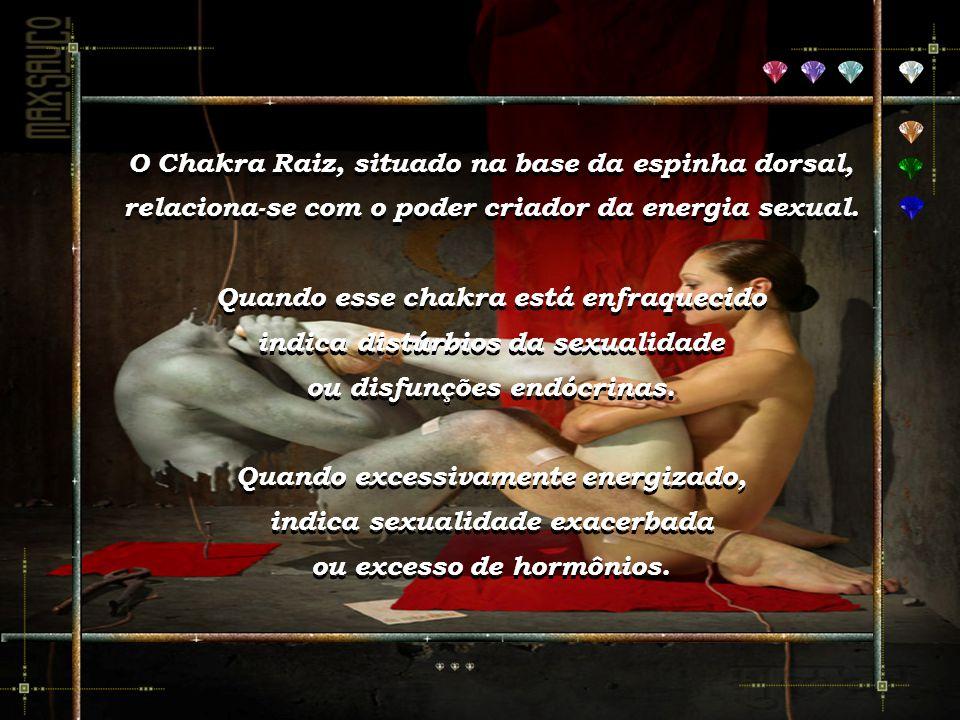 O Chakra Raiz, situado na base da espinha dorsal, relaciona-se com o poder criador da energia sexual.