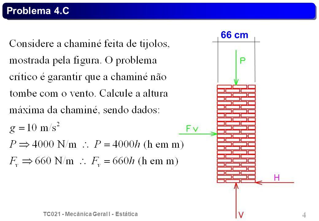 TC021 - Mecânica Geral I - Estática © 2014 Curotto, C.L. - UFPR 4 Problema 4.C 66 cm