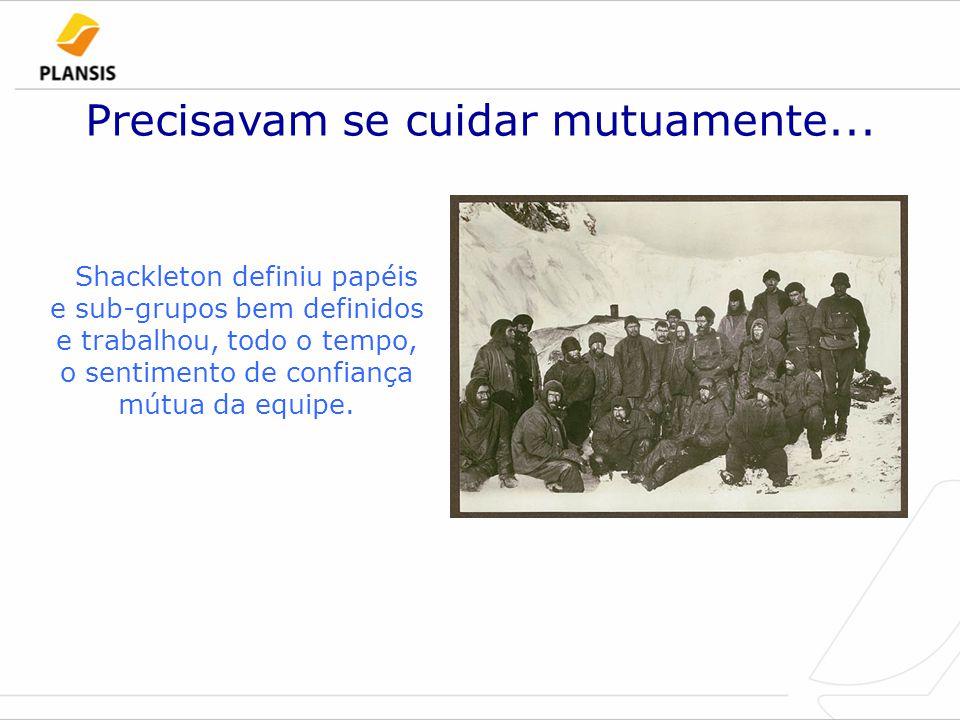Precisavam se cuidar mutuamente... Shackleton definiu papéis e sub-grupos bem definidos e trabalhou, todo o tempo, o sentimento de confiança mútua da