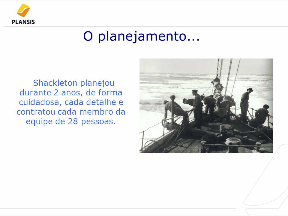 O planejamento... Shackleton planejou durante 2 anos, de forma cuidadosa, cada detalhe e contratou cada membro da equipe de 28 pessoas.