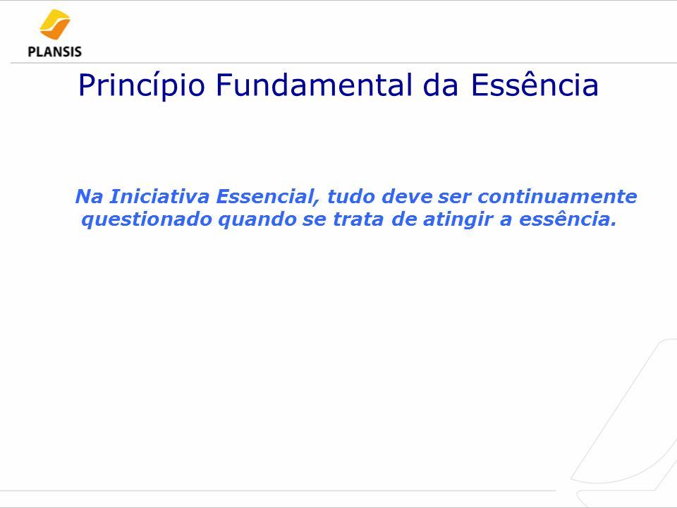 Princípio Fundamental da Essência Na Iniciativa Essencial, tudo deve ser continuamente questionado quando se trata de atingir a essência.