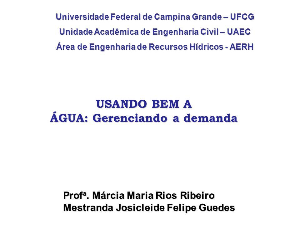 Universidade Federal de Campina Grande – UFCG Unidade Acadêmica de Engenharia Civil – UAEC Área de Engenharia de Recursos Hídricos - AERH Prof a.