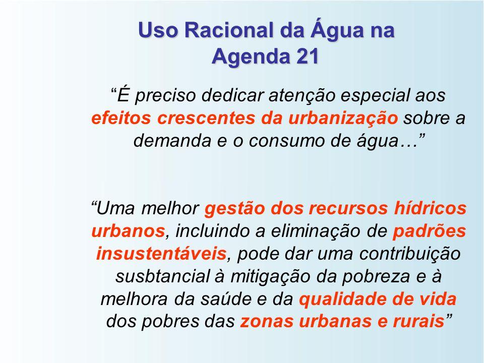 """Uso Racional da Água na Agenda 21 """"…assegurar que se mantenha uma oferta adequada de água de boa qualidade para toda a população do planeta, …, adapta"""