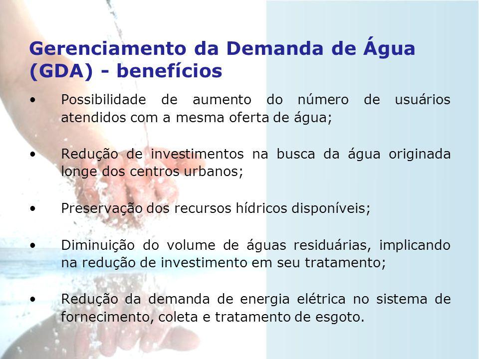 Gerenciamento da Demanda de Água (GDA) •Consiste em medidas, práticas ou incentivos que produzam um uso eficiente de água pela sociedade, através da r