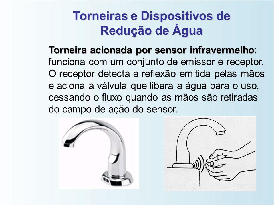 Torneiras e Dispositivos de Redução de Água Torneira com tempo de fluxo determinado Torneira com tempo de fluxo determinado: dotada de dispositivo mec