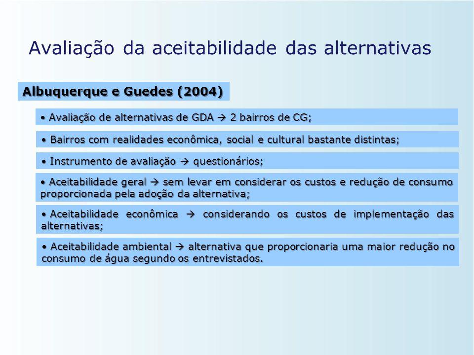 Avaliação da aceitabilidade das alternativas • Propôs metodologia de avaliação  múltiplos critérios e múltiplo decisores; • Inexistência de comitê à