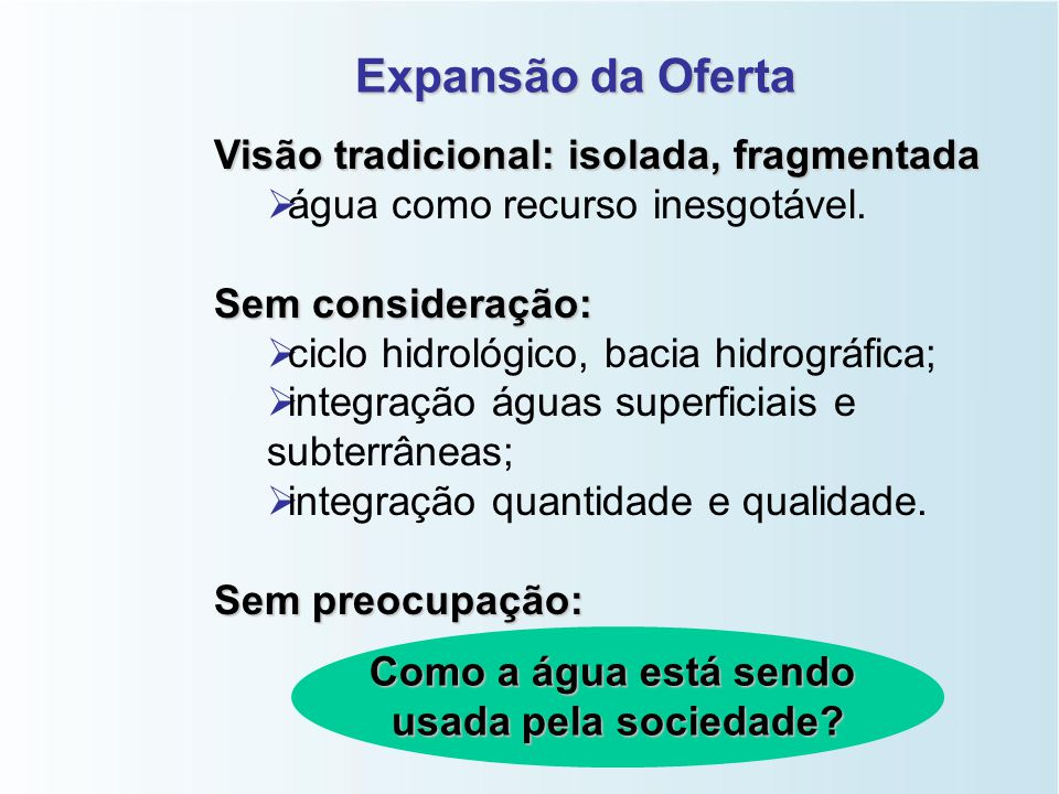 Expansão da Oferta Visão tradicional: isolada, fragmentada   água como recurso inesgotável.