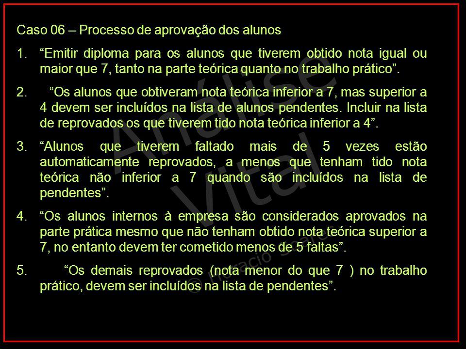 """Análise Vital © Horacio Soares Caso 06 – Processo de aprovação dos alunos 1.""""Emitir diploma para os alunos que tiverem obtido nota igual ou maior que"""