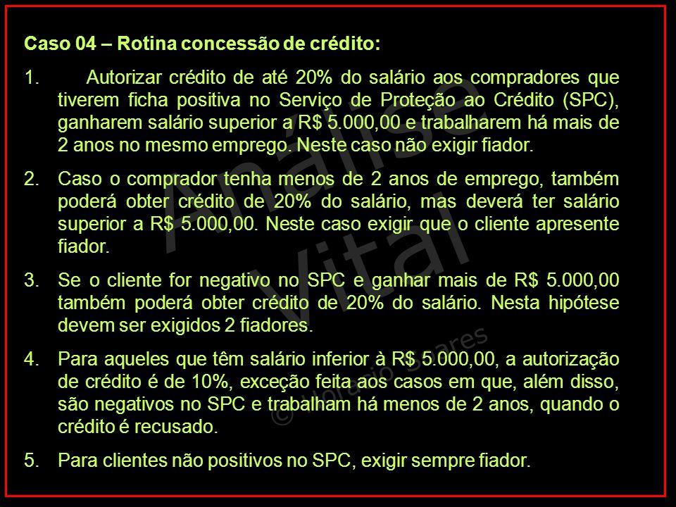 Análise Vital © Horacio Soares Caso 04 – Rotina concessão de crédito: 1. Autorizar crédito de até 20% do salário aos compradores que tiverem ficha pos