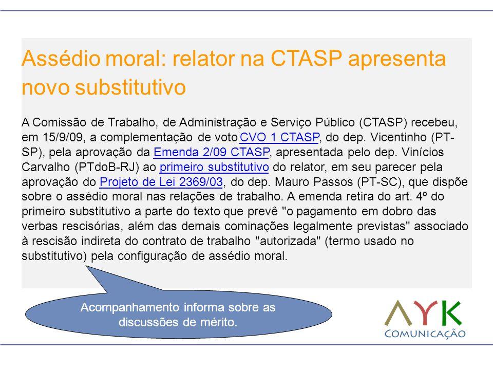 Assédio moral: relator na CTASP apresenta novo substitutivo A Comissão de Trabalho, de Administração e Serviço Público (CTASP) recebeu, em 15/9/09, a complementação de voto CVO 1 CTASP, do dep.