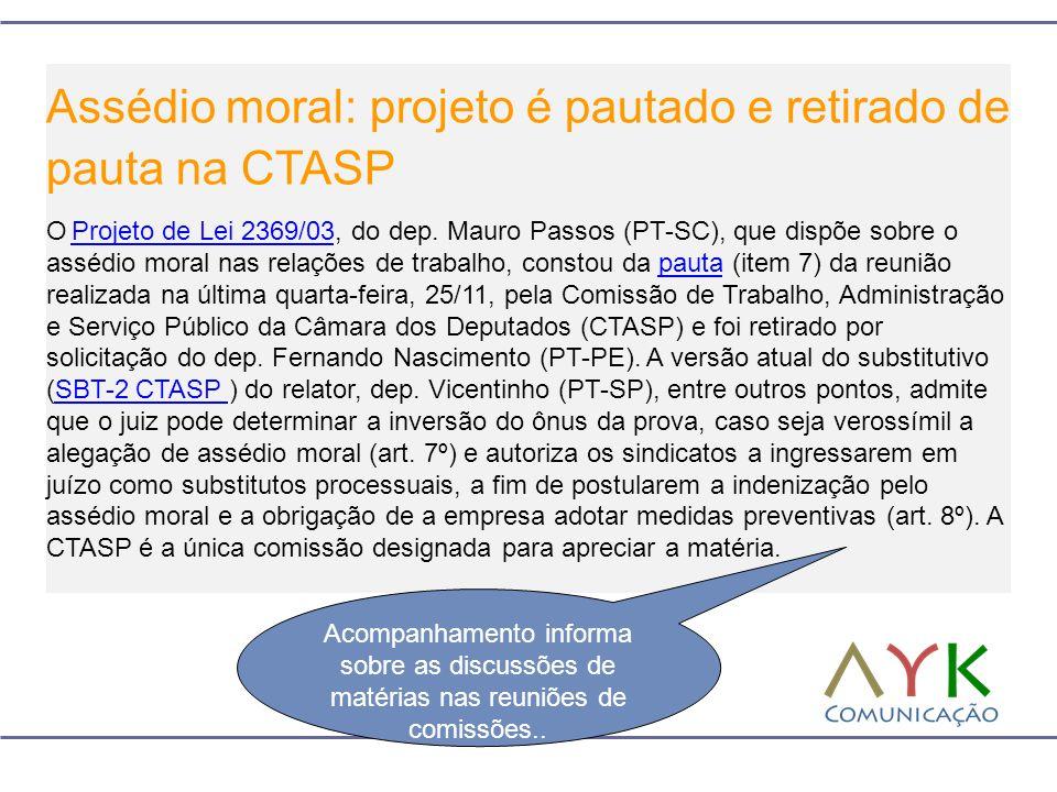 Assédio moral: projeto é pautado e retirado de pauta na CTASP O Projeto de Lei 2369/03, do dep. Mauro Passos (PT-SC), que dispõe sobre o assédio moral