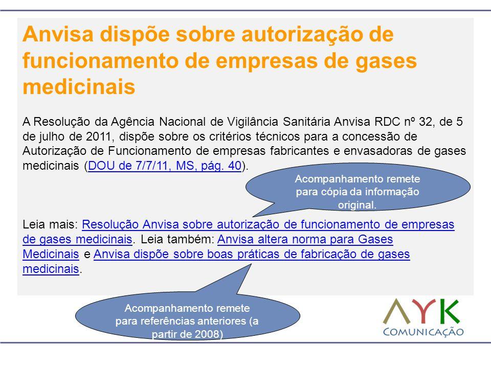 Anvisa dispõe sobre autorização de funcionamento de empresas de gases medicinais A Resolução da Agência Nacional de Vigilância Sanitária Anvisa RDC nº