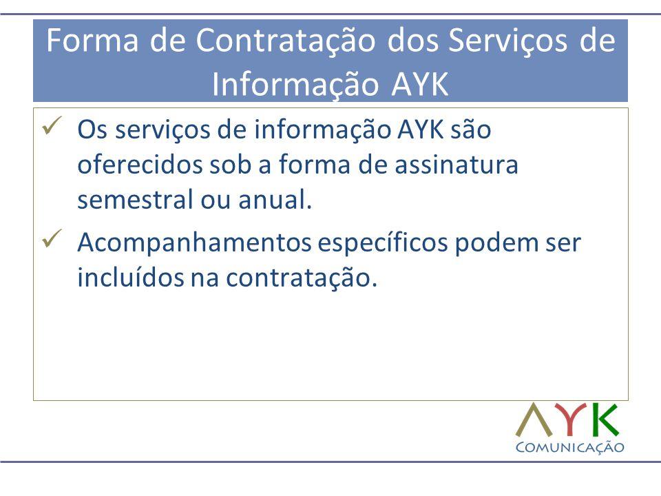 Forma de Contratação dos Serviços de Informação AYK  Os serviços de informação AYK são oferecidos sob a forma de assinatura semestral ou anual.