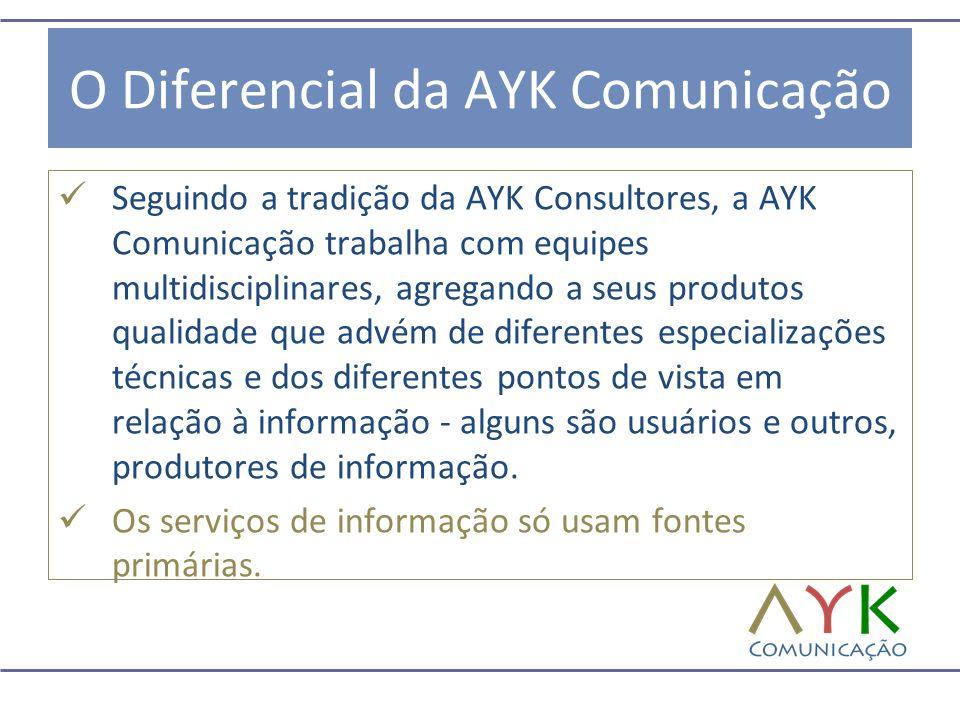 O Diferencial da AYK Comunicação  Seguindo a tradição da AYK Consultores, a AYK Comunicação trabalha com equipes multidisciplinares, agregando a seus