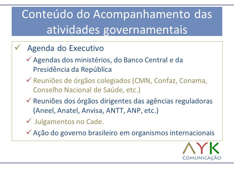 Conteúdo do Acompanhamento das atividades governamentais  Agenda do Executivo  Agendas dos ministérios, do Banco Central e da Presidência da Repúbli