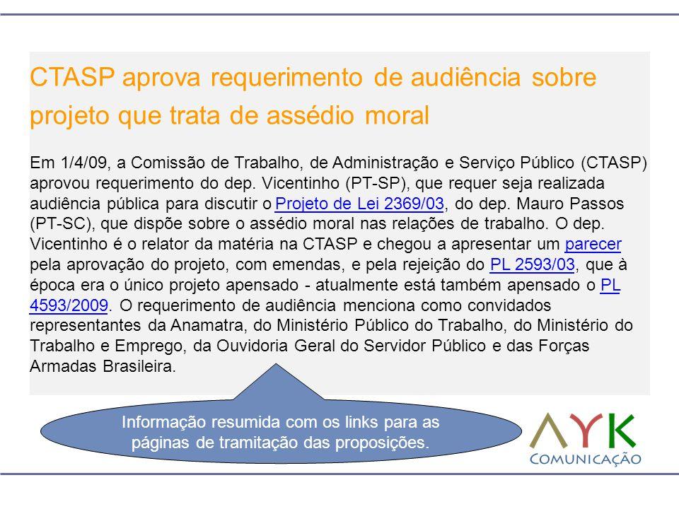 CTASP aprova requerimento de audiência sobre projeto que trata de assédio moral Em 1/4/09, a Comissão de Trabalho, de Administração e Serviço Público (CTASP) aprovou requerimento do dep.