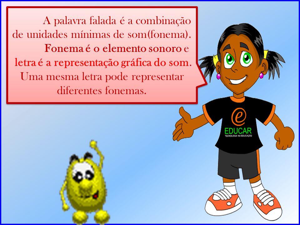 A palavra falada é a combinação de unidades mínimas de som(fonema). Fonema é o elemento sonoro e letra é a representação gráfica do som. Uma mesma let