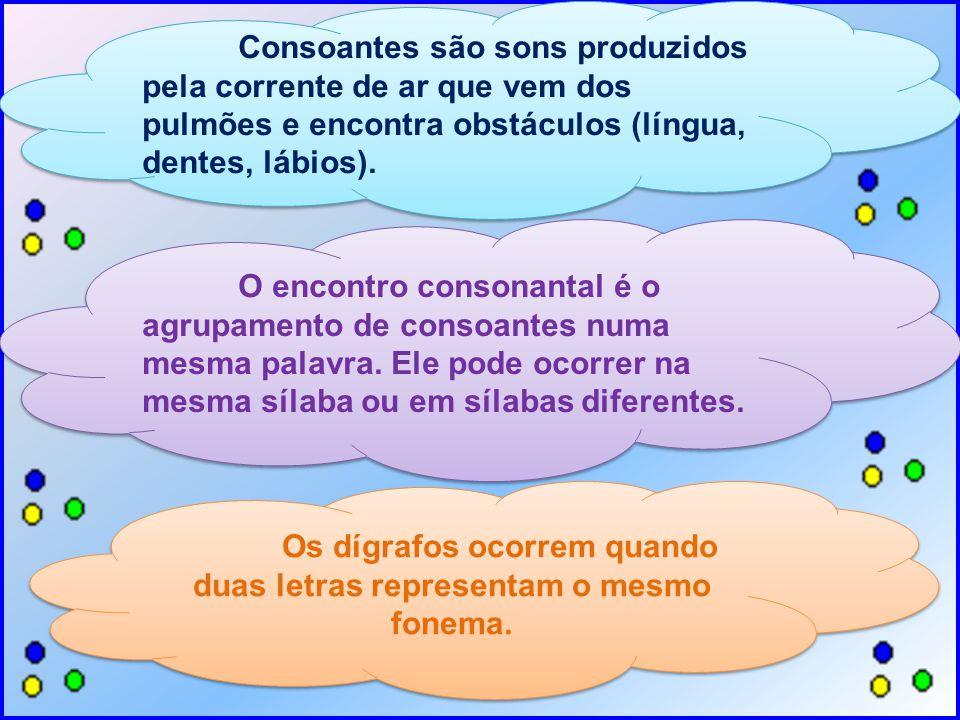 Consoantes são sons produzidos pela corrente de ar que vem dos pulmões e encontra obstáculos (língua, dentes, lábios). O encontro consonantal é o agru