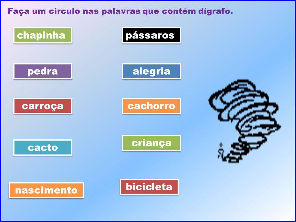 Faça um círculo nas palavras que contém dígrafo. chapinha pedra carroça cacto nascimento pássaros alegria cachorro criança bicicleta