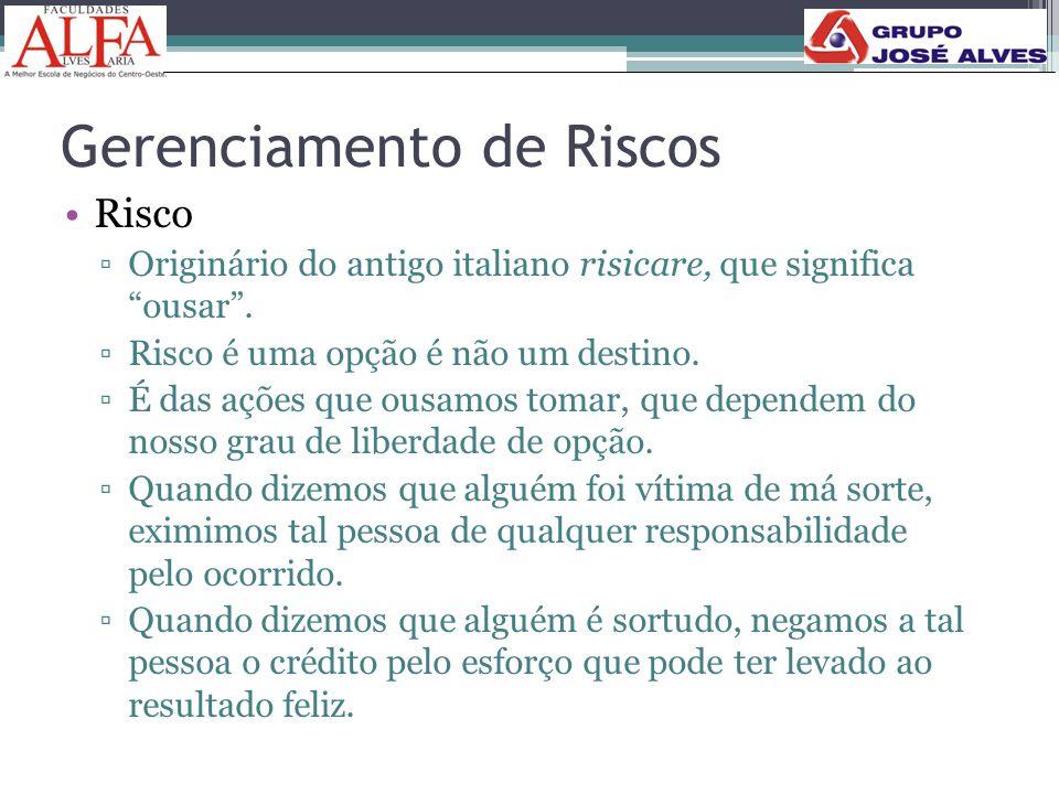 """Gerenciamento de Riscos •Risco ▫Originário do antigo italiano risicare, que significa """"ousar"""". ▫Risco é uma opção é não um destino. ▫É das ações que o"""