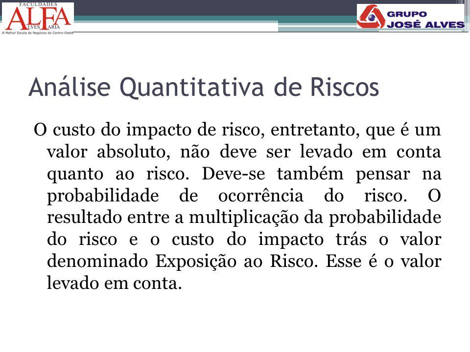 Análise Quantitativa de Riscos O custo do impacto de risco, entretanto, que é um valor absoluto, não deve ser levado em conta quanto ao risco. Deve-se