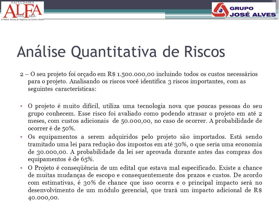 Análise Quantitativa de Riscos 2 – O seu projeto foi orçado em R$ 1.500.000,00 incluindo todos os custos necessários para o projeto. Analisando os ris