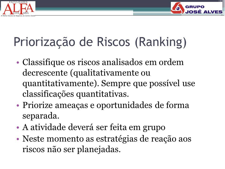 Priorização de Riscos (Ranking) •Classifique os riscos analisados em ordem decrescente (qualitativamente ou quantitativamente). Sempre que possível us