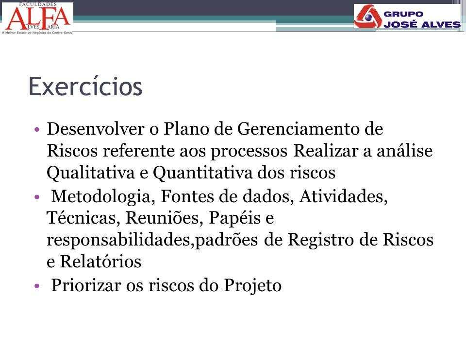 Exercícios •Desenvolver o Plano de Gerenciamento de Riscos referente aos processos Realizar a análise Qualitativa e Quantitativa dos riscos • Metodolo