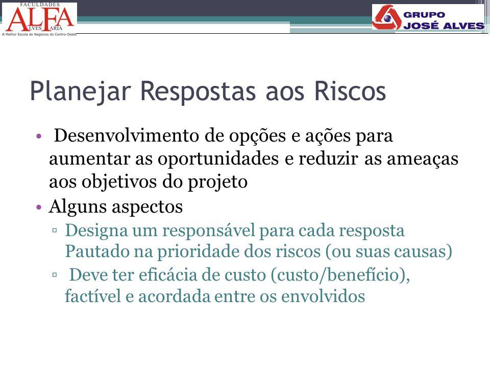 Planejar Respostas aos Riscos • Desenvolvimento de opções e ações para aumentar as oportunidades e reduzir as ameaças aos objetivos do projeto •Alguns