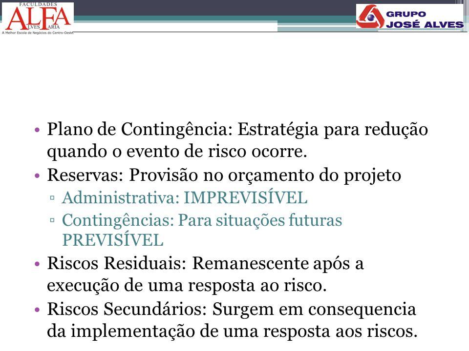 •Plano de Contingência: Estratégia para redução quando o evento de risco ocorre. •Reservas: Provisão no orçamento do projeto ▫Administrativa: IMPREVIS