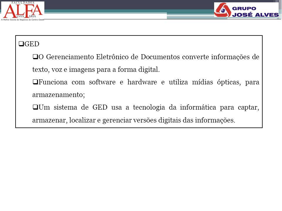  GED  O Gerenciamento Eletrônico de Documentos converte informações de texto, voz e imagens para a forma digital.  Funciona com software e hardware