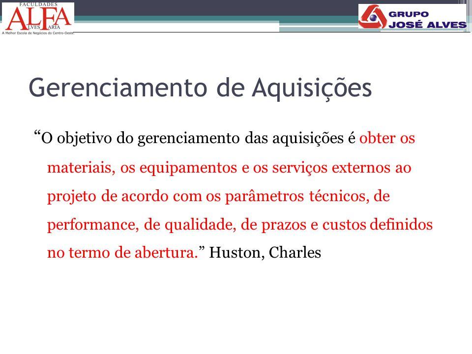 """Gerenciamento de Aquisições """" O objetivo do gerenciamento das aquisições é obter os materiais, os equipamentos e os serviços externos ao projeto de ac"""