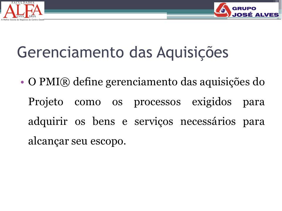 Gerenciamento das Aquisições •O PMI® define gerenciamento das aquisições do Projeto como os processos exigidos para adquirir os bens e serviços necess