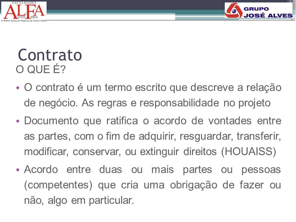 Contrato O QUE É? • O contrato é um termo escrito que descreve a relação de negócio. As regras e responsabilidade no projeto • Documento que ratifica