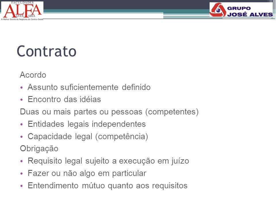 Contrato Acordo • Assunto suficientemente definido • Encontro das idéias Duas ou mais partes ou pessoas (competentes) • Entidades legais independentes