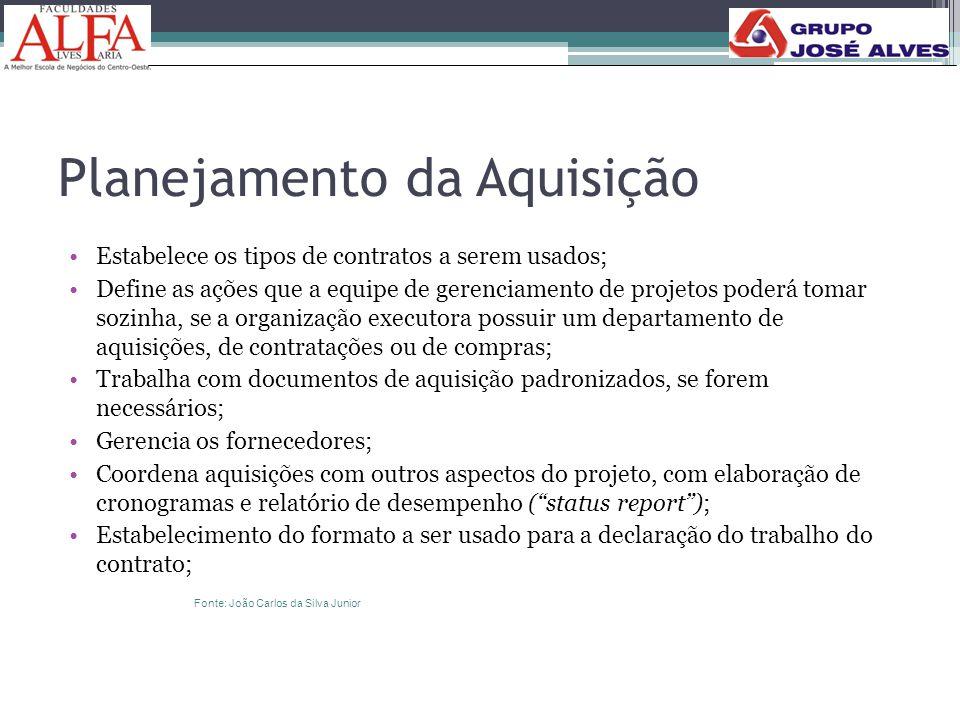 Planejamento da Aquisição •Estabelece os tipos de contratos a serem usados; •Define as ações que a equipe de gerenciamento de projetos poderá tomar so