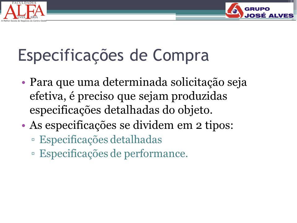Especificações de Compra •Para que uma determinada solicitação seja efetiva, é preciso que sejam produzidas especificações detalhadas do objeto. •As e
