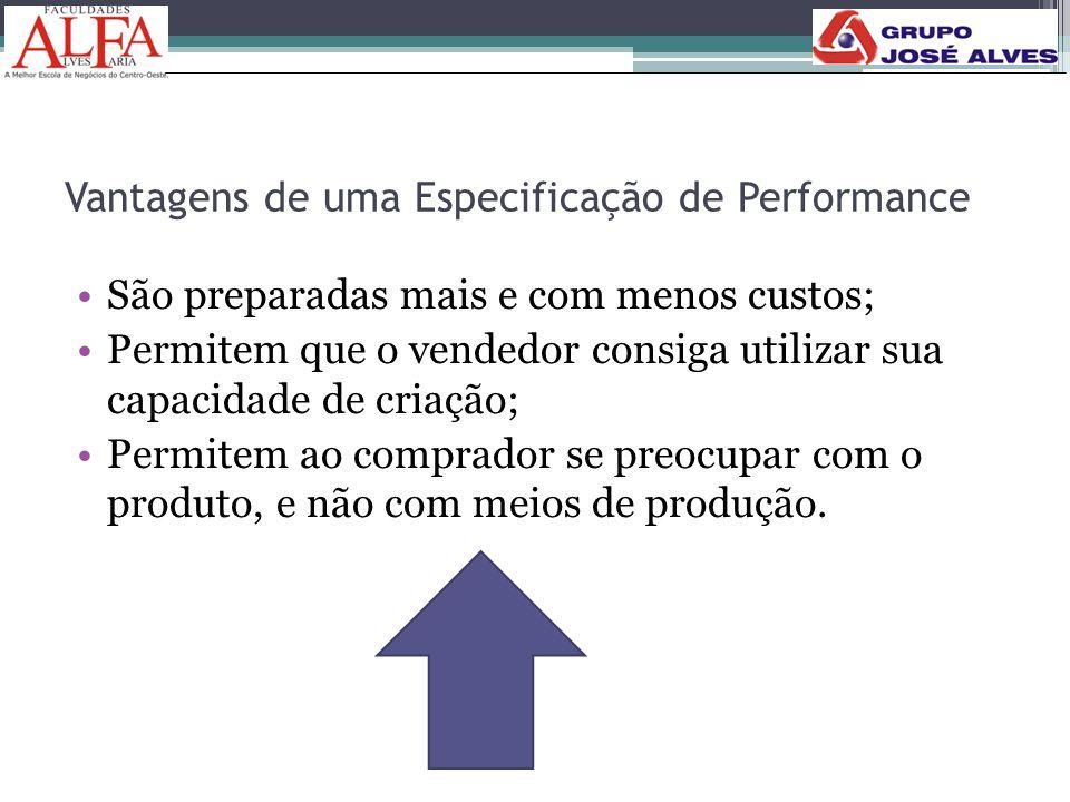 Vantagens de uma Especificação de Performance •São preparadas mais e com menos custos; •Permitem que o vendedor consiga utilizar sua capacidade de cri