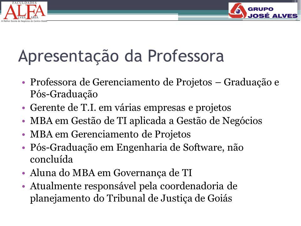 Apresentação da Professora •Professora de Gerenciamento de Projetos – Graduação e Pós-Graduação •Gerente de T.I. em várias empresas e projetos •MBA em
