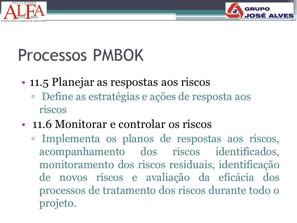 Processos PMBOK •11.5 Planejar as respostas aos riscos ▫ Define as estratégias e ações de resposta aos riscos • 11.6 Monitorar e controlar os riscos ▫