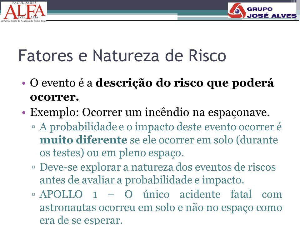 Fatores e Natureza de Risco •O evento é a descrição do risco que poderá ocorrer. •Exemplo: Ocorrer um incêndio na espaçonave. ▫A probabilidade e o imp