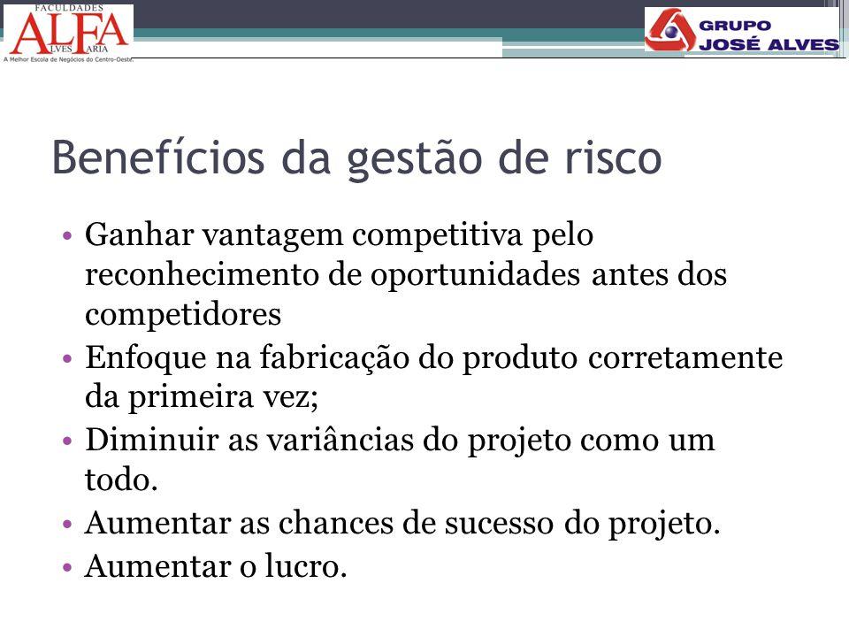 Benefícios da gestão de risco •Ganhar vantagem competitiva pelo reconhecimento de oportunidades antes dos competidores •Enfoque na fabricação do produ
